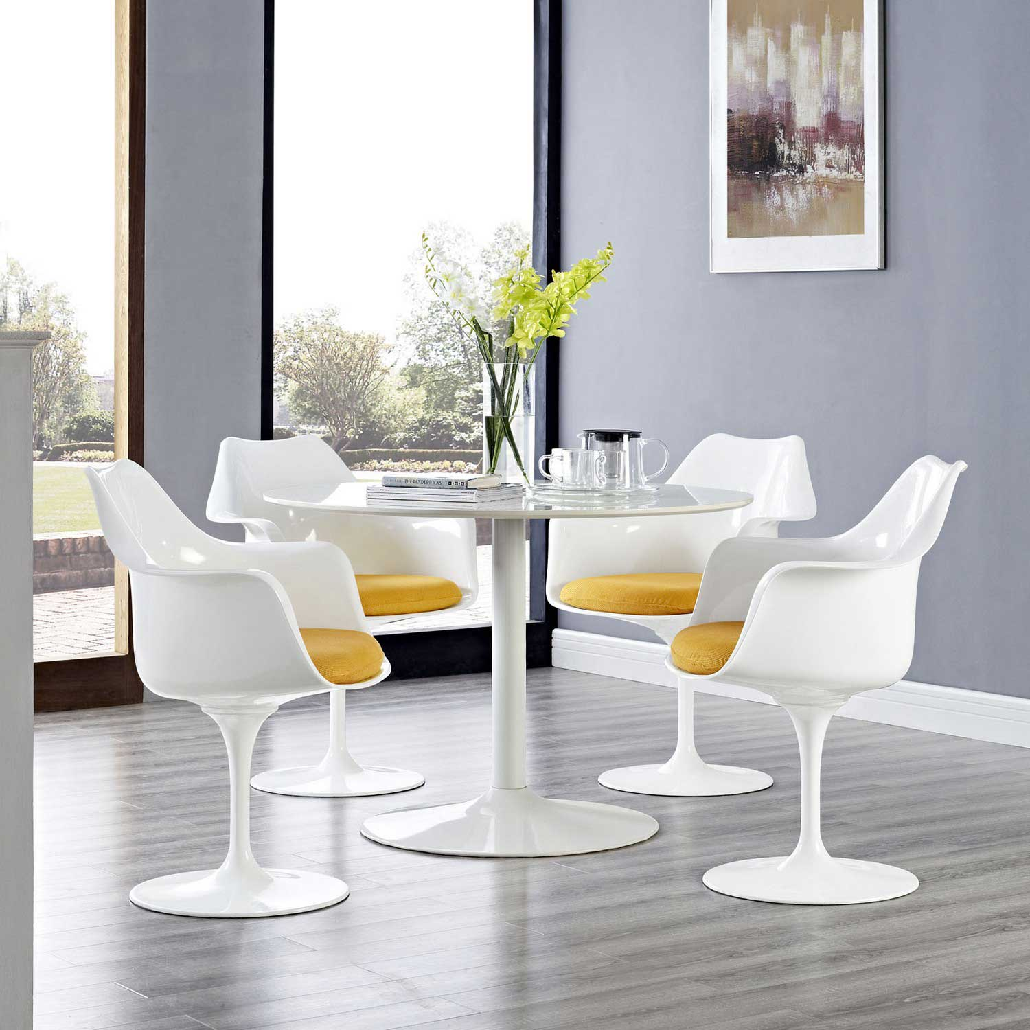 Modway Lippa Dining Armchair Set of 4 - Yellow