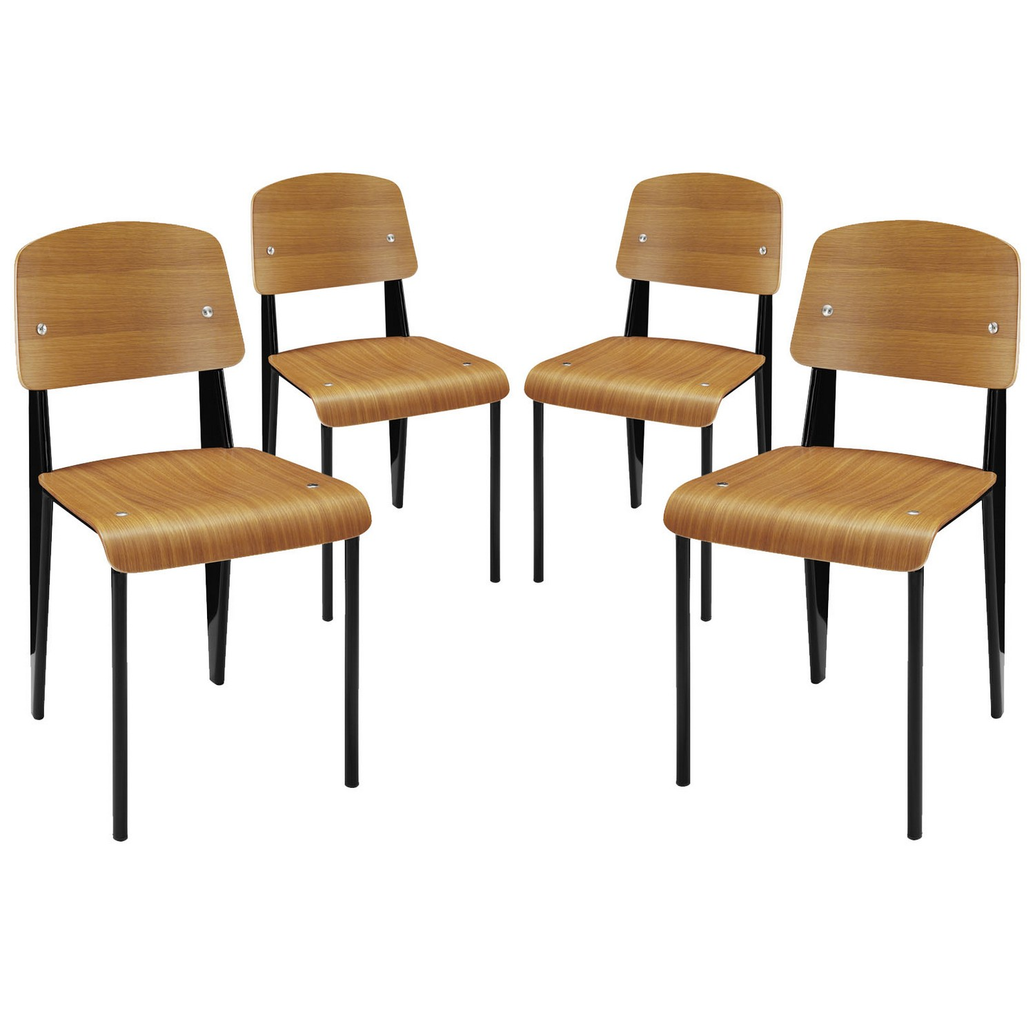 Modway Cabin Dining Side Chair Set of 4 - Walnut