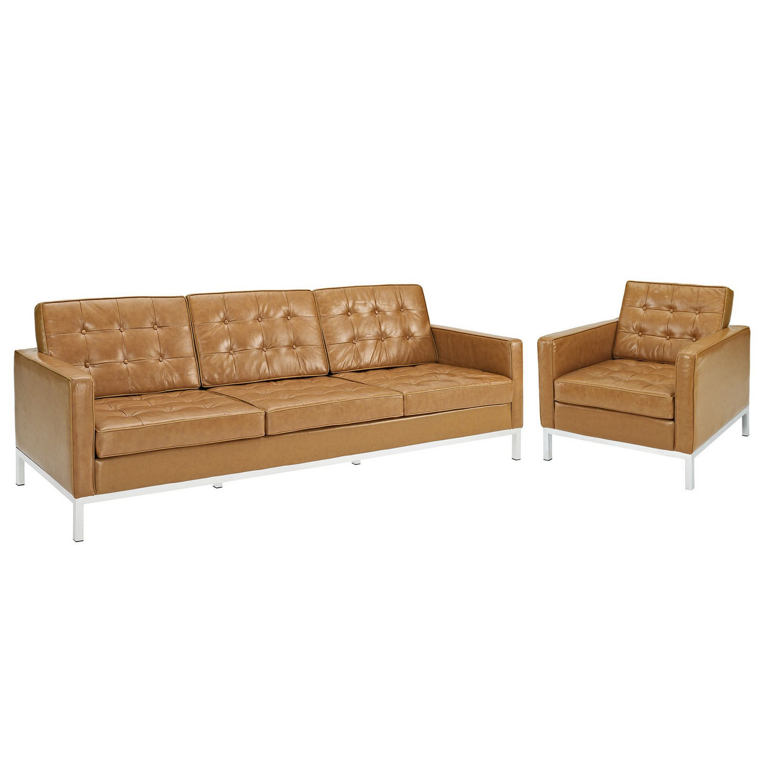 modway loft armchair and sofa leather 2 piece set tan mw eei 1270 tan at. Black Bedroom Furniture Sets. Home Design Ideas