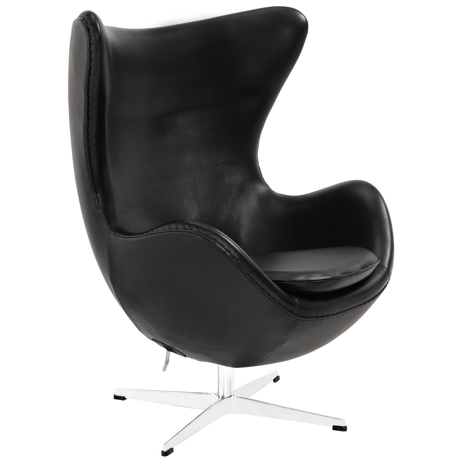 Modway Glove Leather Lounge Chair and Ottoman - Black