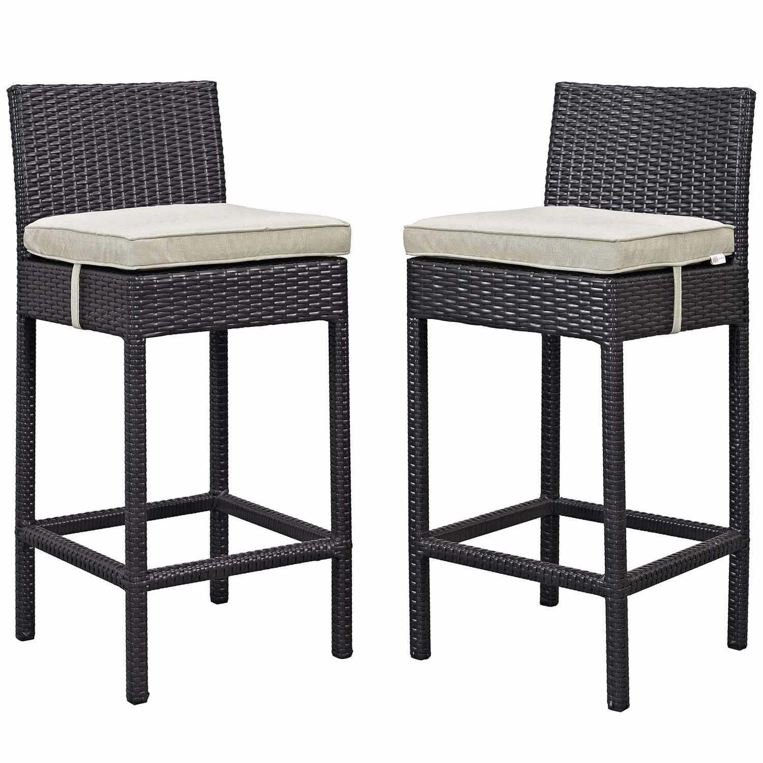 Modway Lift Bar Stool Outdoor Patio Set of 2 - Espresso Beige