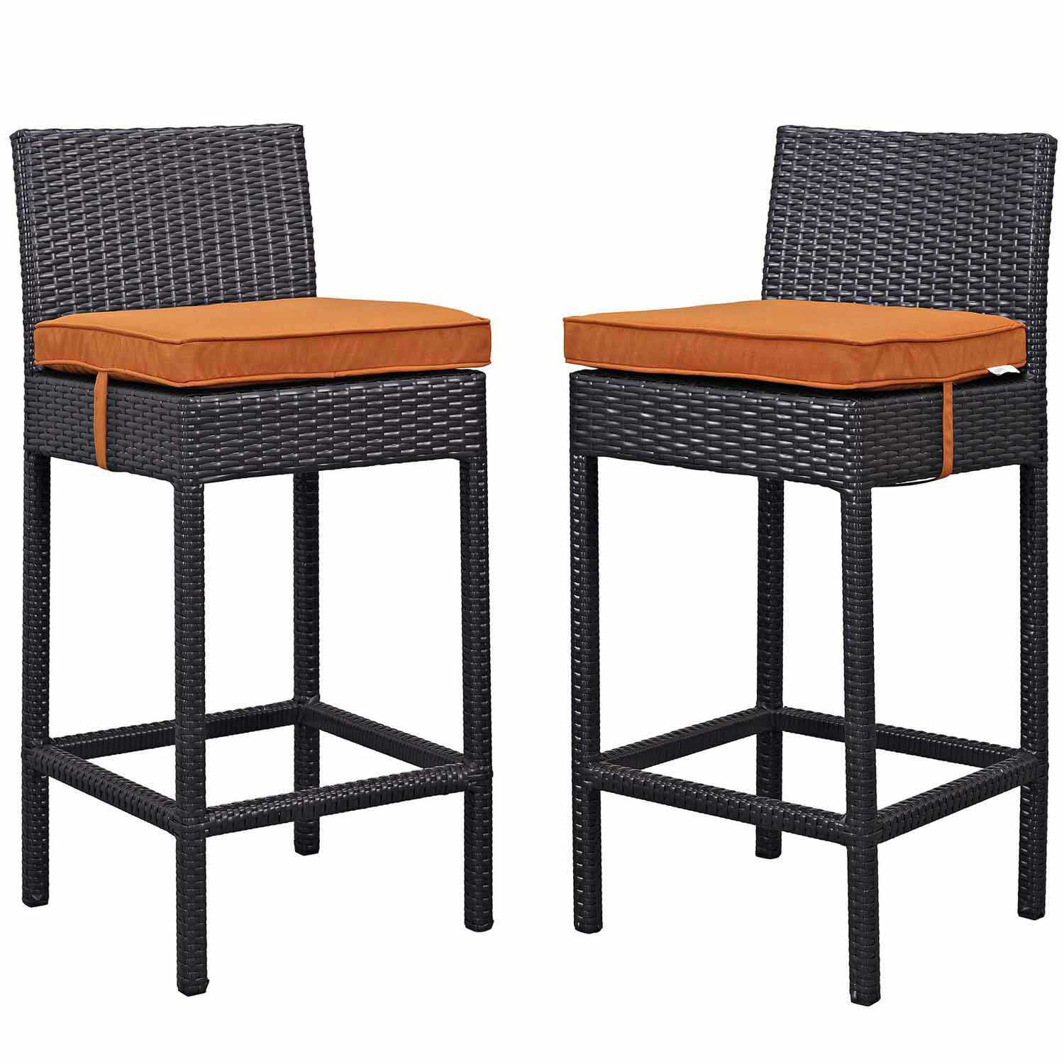 Modway Lift Bar Stool Outdoor Patio Set of 2 - Espresso Orange