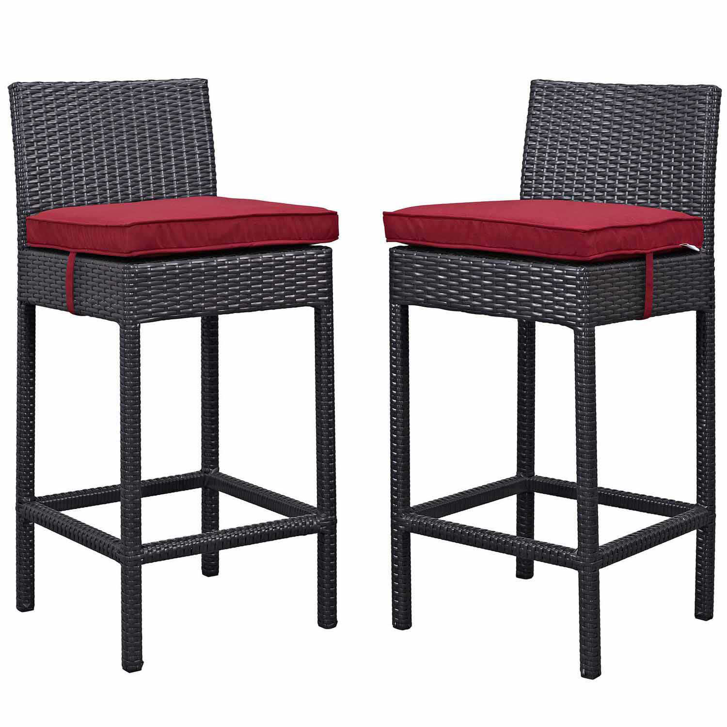 Modway Lift Bar Stool Outdoor Patio Set of 2 - Espresso Red