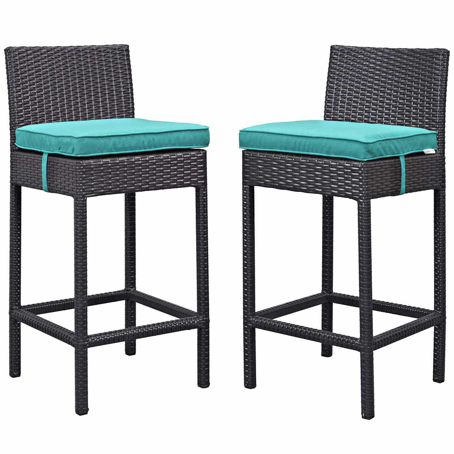Modway Lift Bar Stool Outdoor Patio Set of 2 - Espresso Turquoise