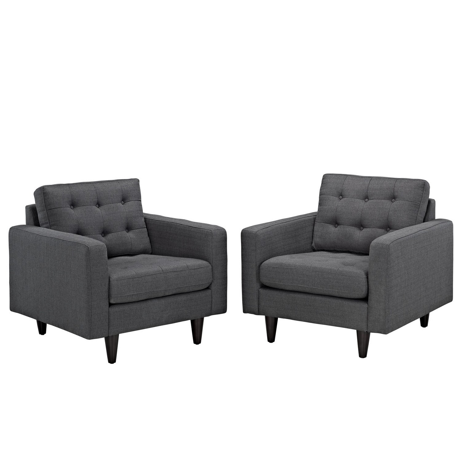 Modway Empress Armchair Upholstered Set of 2 - Gray