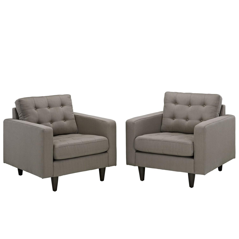 Modway Empress Armchair Upholstered Set of 2 - Granite