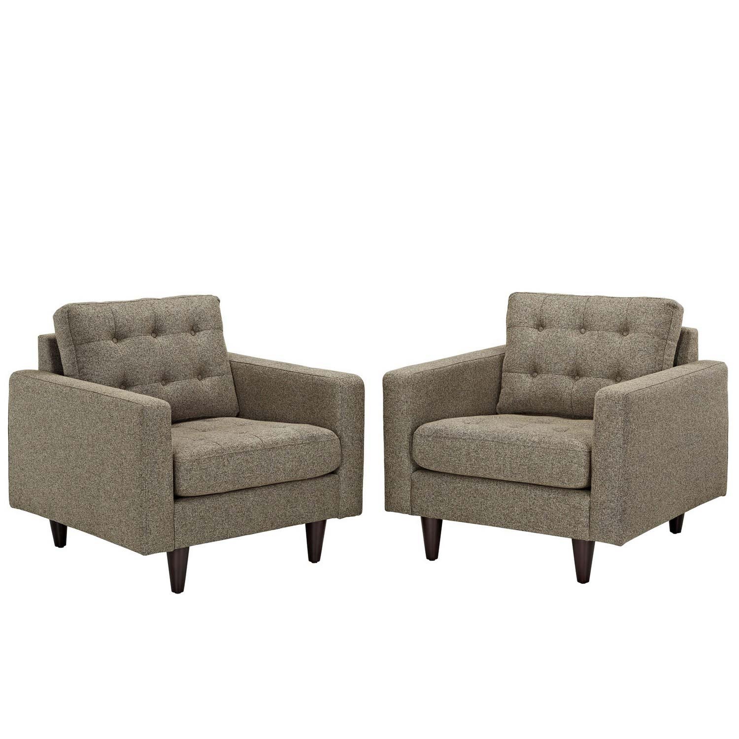 Modway Empress Armchair Upholstered Set of 2 - Oatmeal
