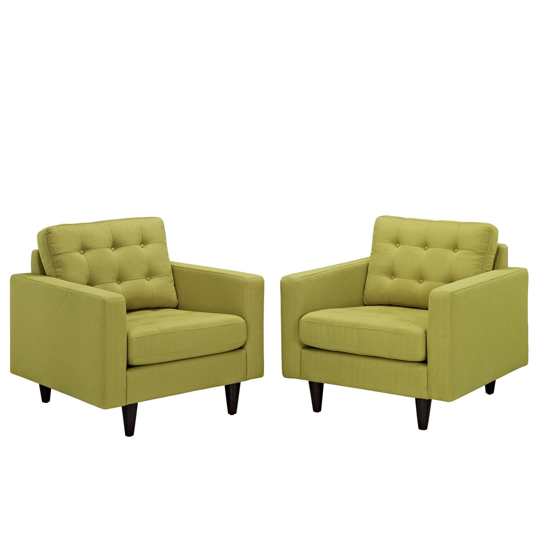 Modway Empress Armchair Upholstered Set of 2 - Wheatgrass
