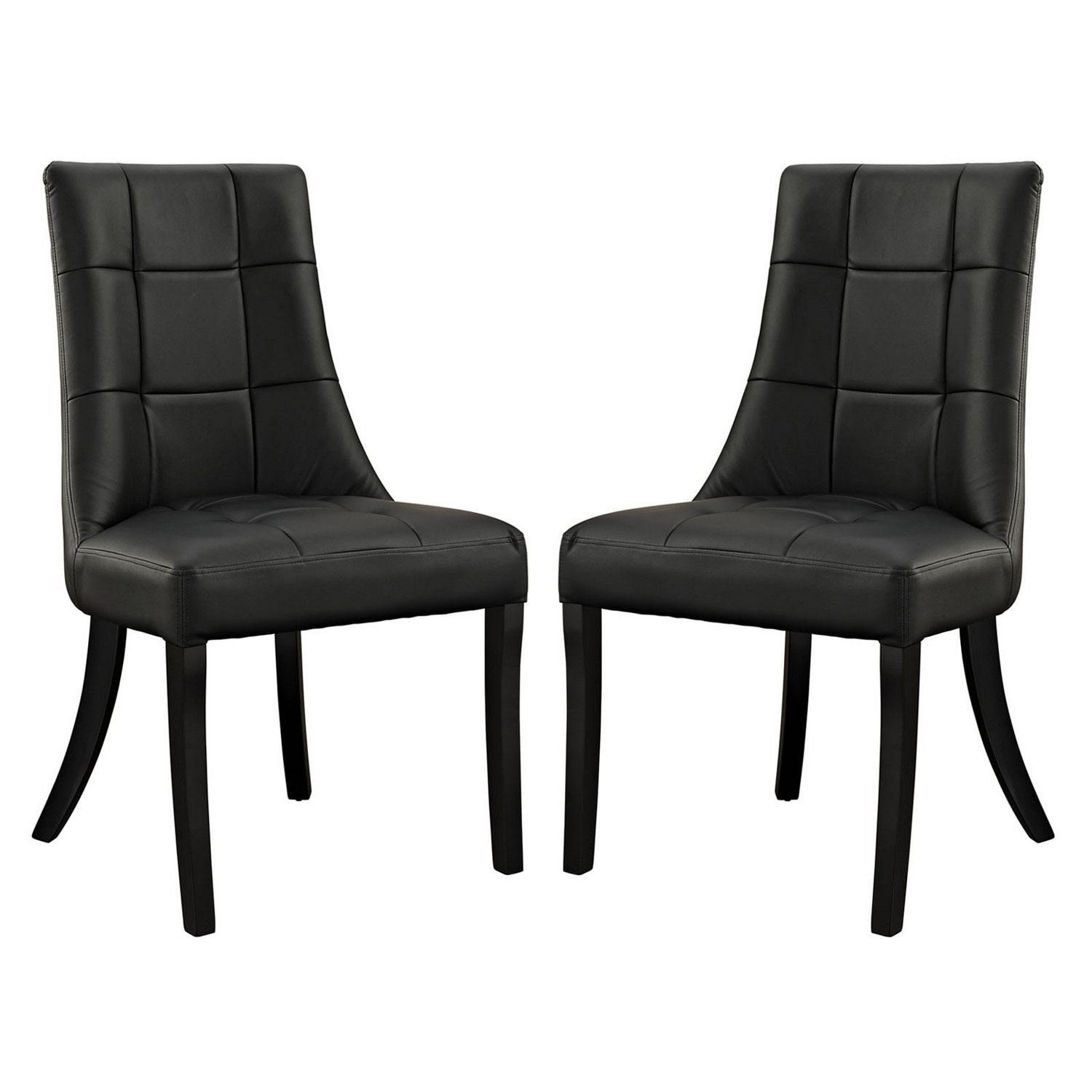 Modway Noblesse Vinyl Dining Chair Set of 2 - Black