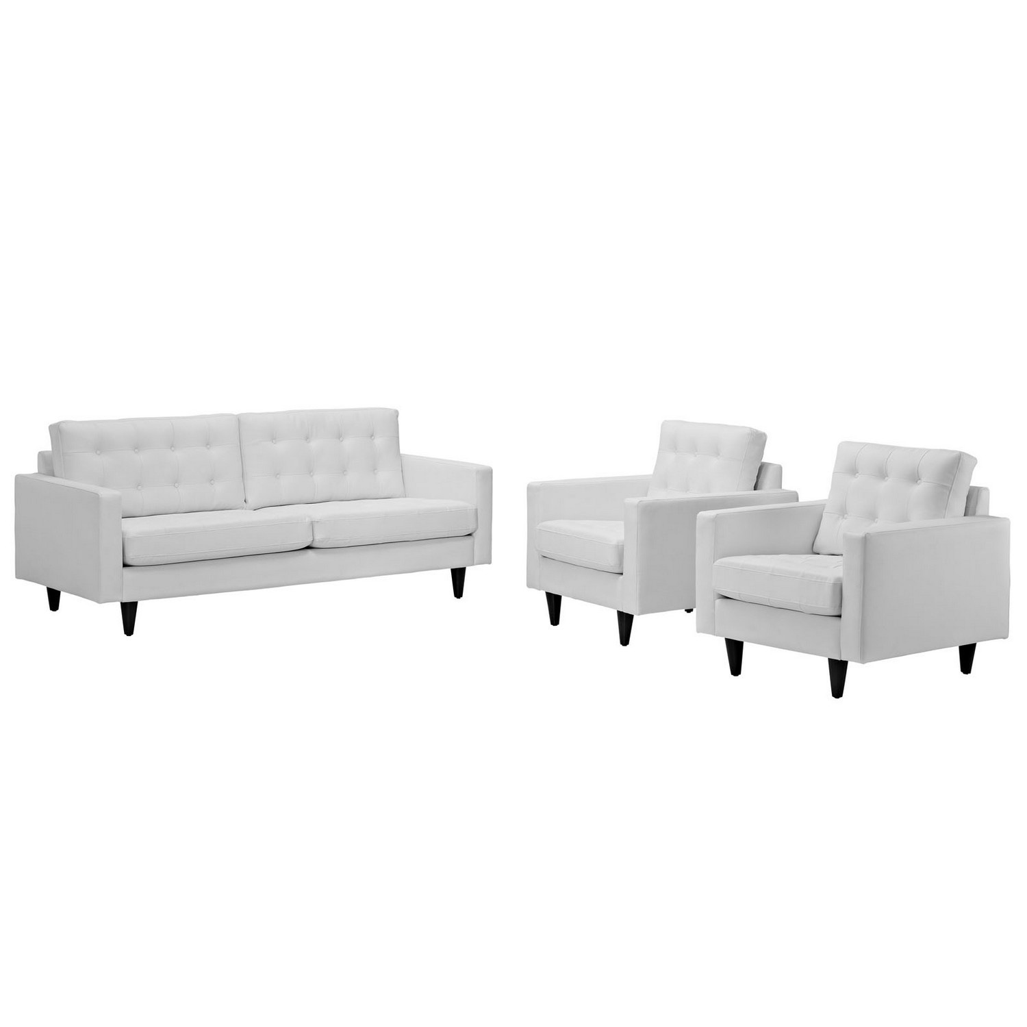 Modway Empress 3PC Sofa and Armchairs Set- White