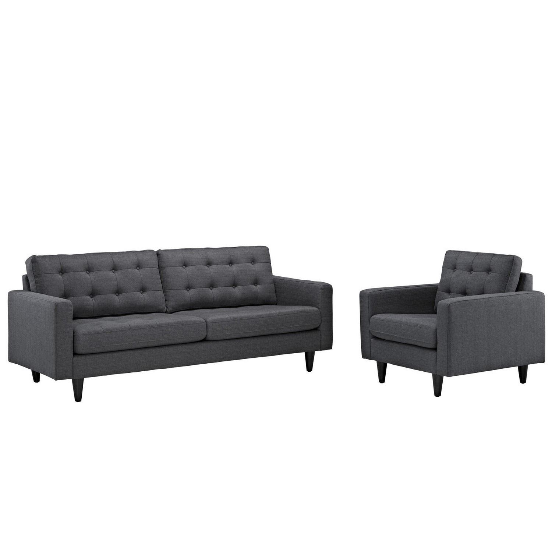 Modway Empress 2PC Armchair and Sofa Set - Gray