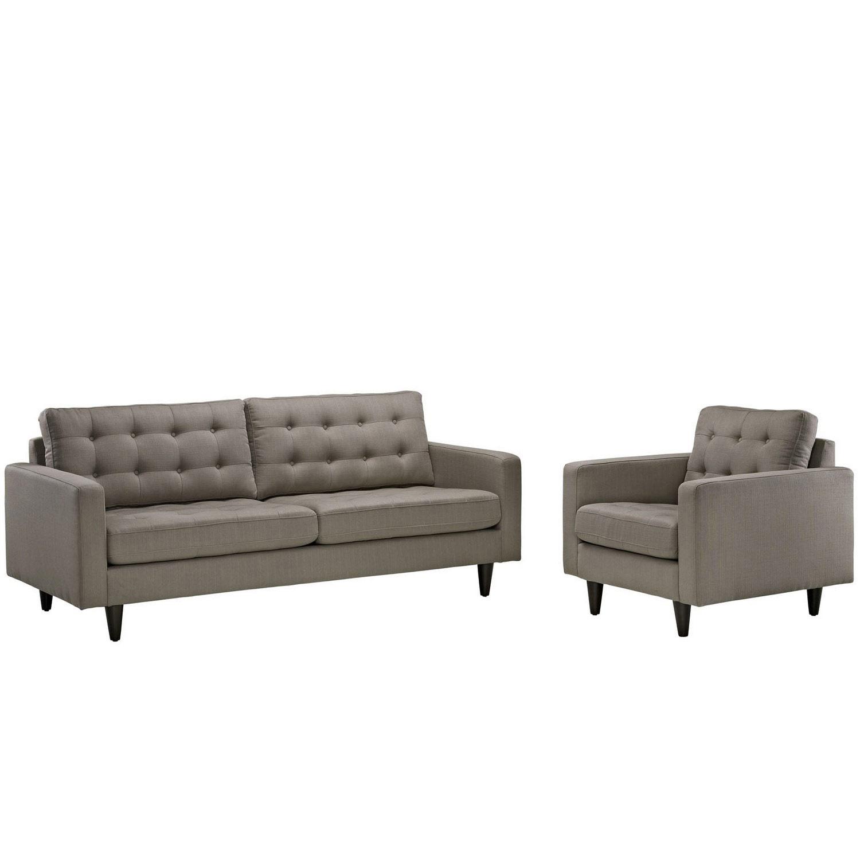 Modway Empress 2PC Armchair and Sofa Set - Granite