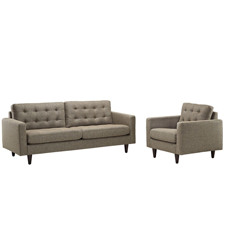 Modway Empress 2PC Armchair and Sofa Set - Oatmeal