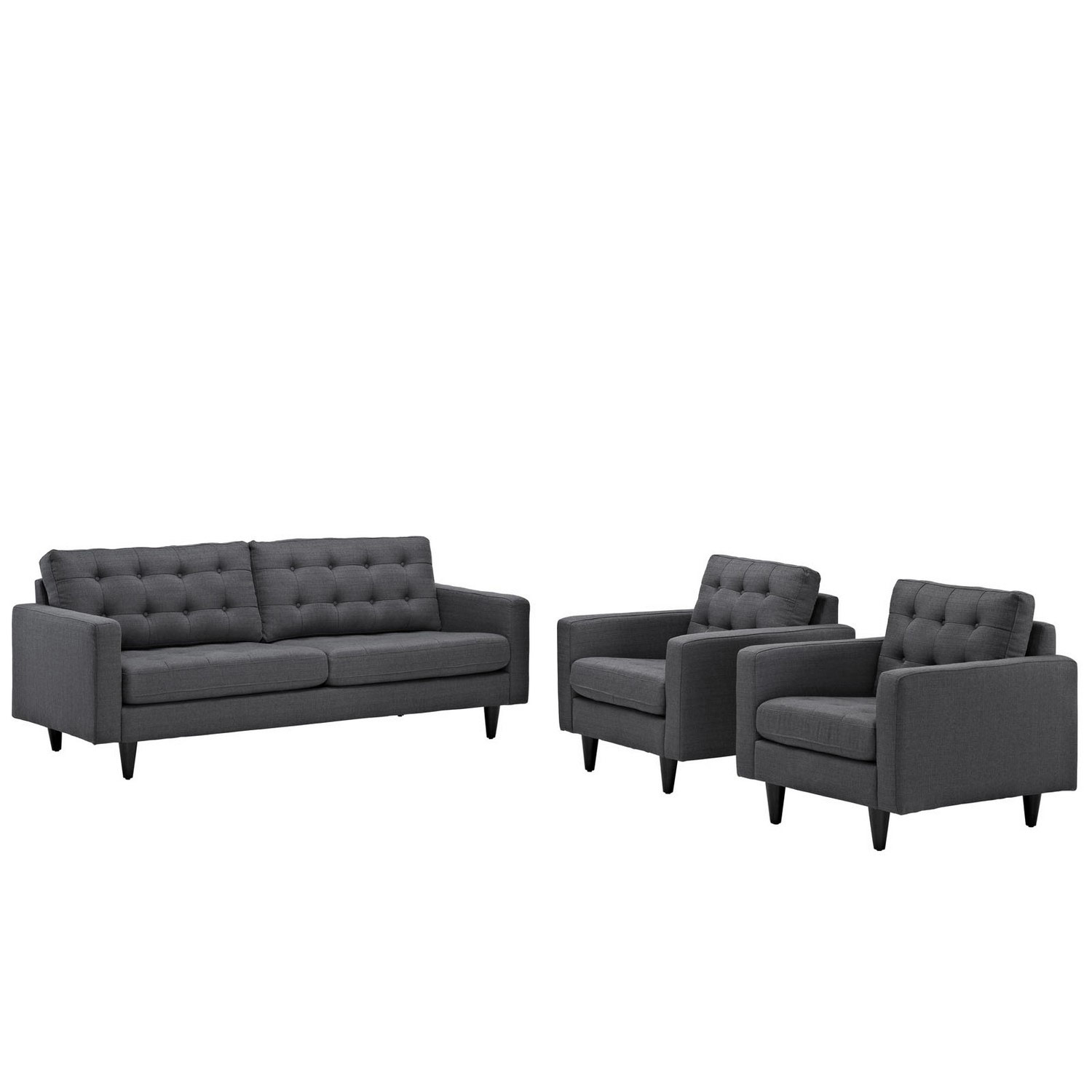 Modway Empress 3PC Sofa and Armchairs Set - Gray