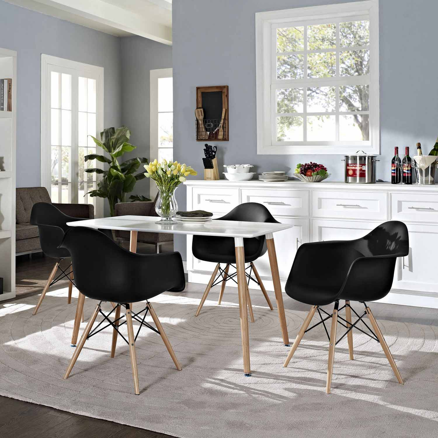 Modway Pyramid 4Pc Dining Side Chairs Set - Black