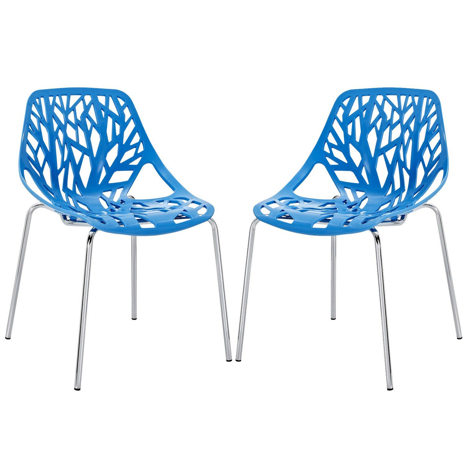 Modway Stencil Dining Side Chair Set of 2 - Blue