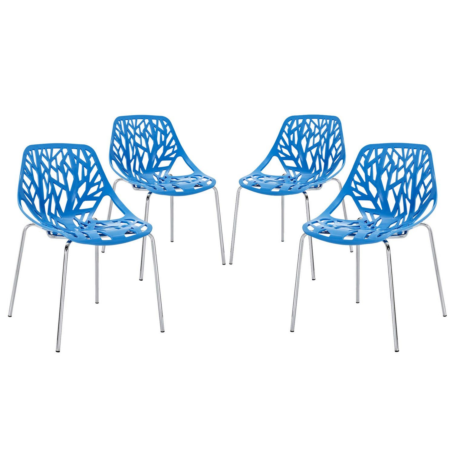 Modway Stencil 4PC Dining Side Chair Set - Blue