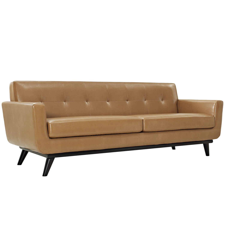 Modway Engage Bonded Leather Sofa - Tan