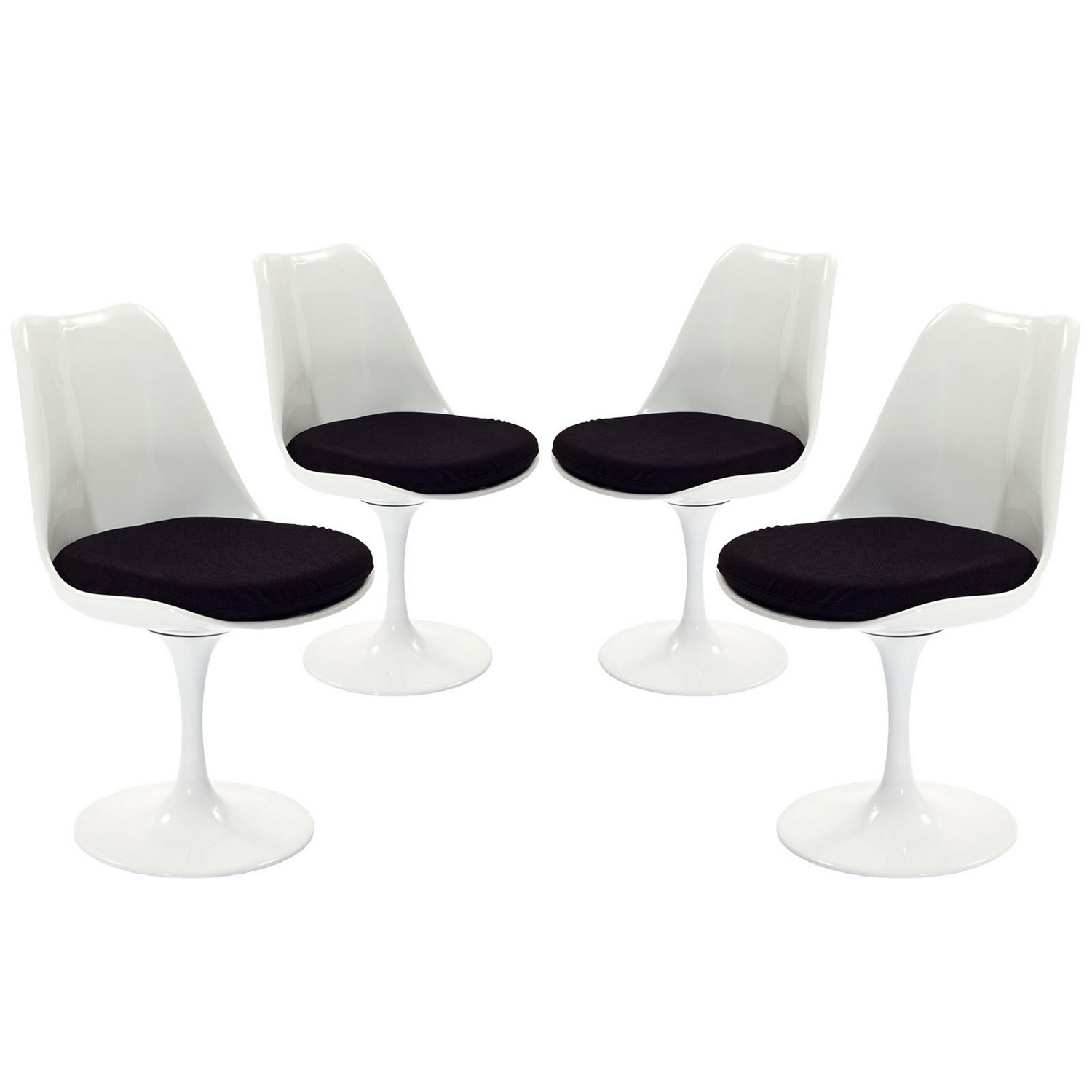 Modway Lippa Dining Side Chair Fabric Set of 4 - Black