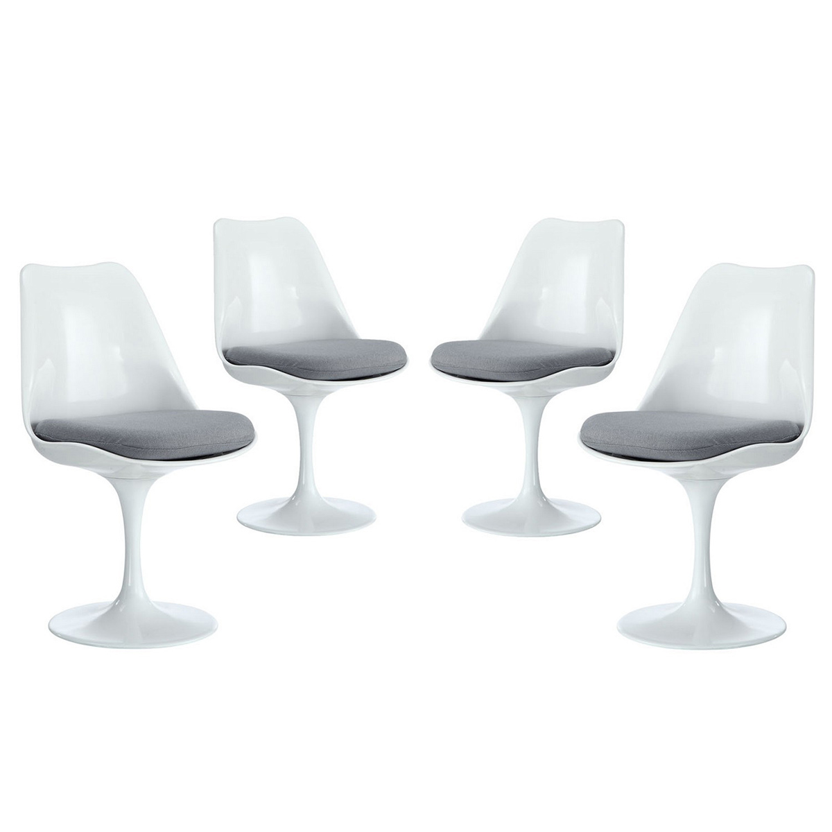 Modway Lippa Dining Side Chair Fabric Set of 4 - Gray