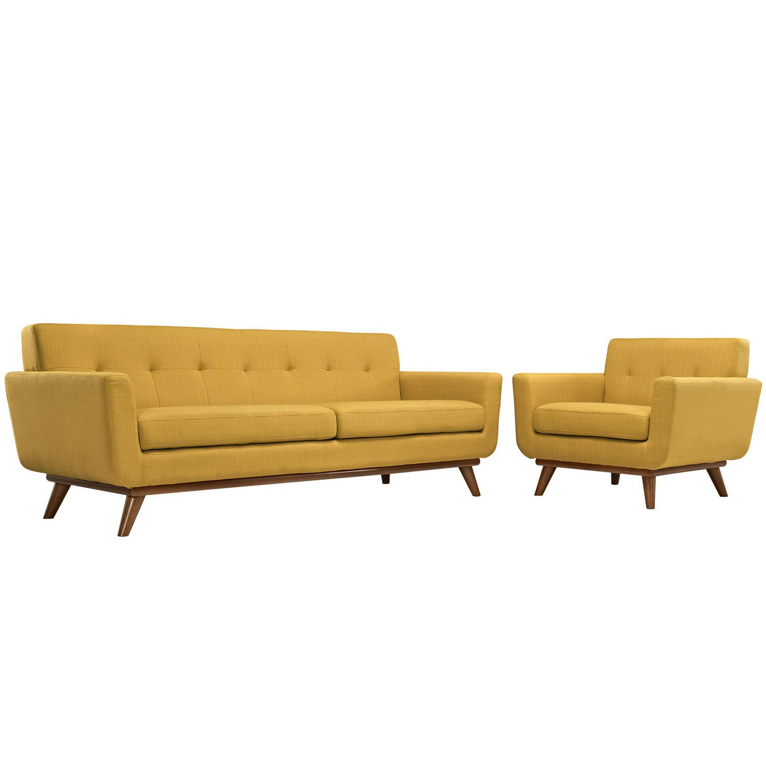 Modway Engage Armchair and Sofa Set of 2 - Citrus