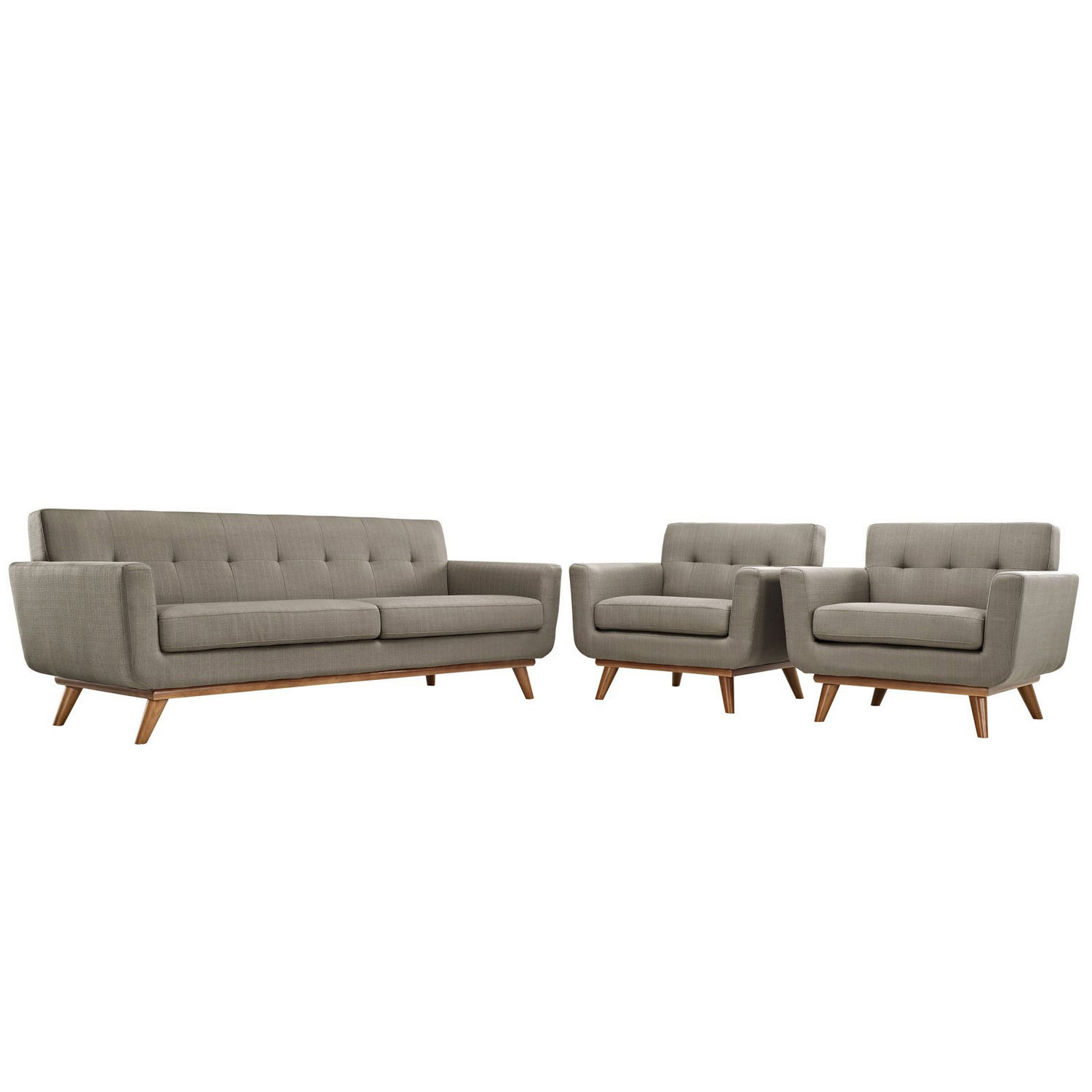 Modway Engage Armchairs and Sofa Set of 3 - Granite