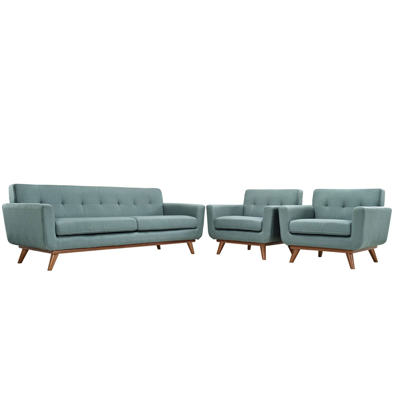 Modway Engage Armchairs and Sofa Set of 3 - Laguna