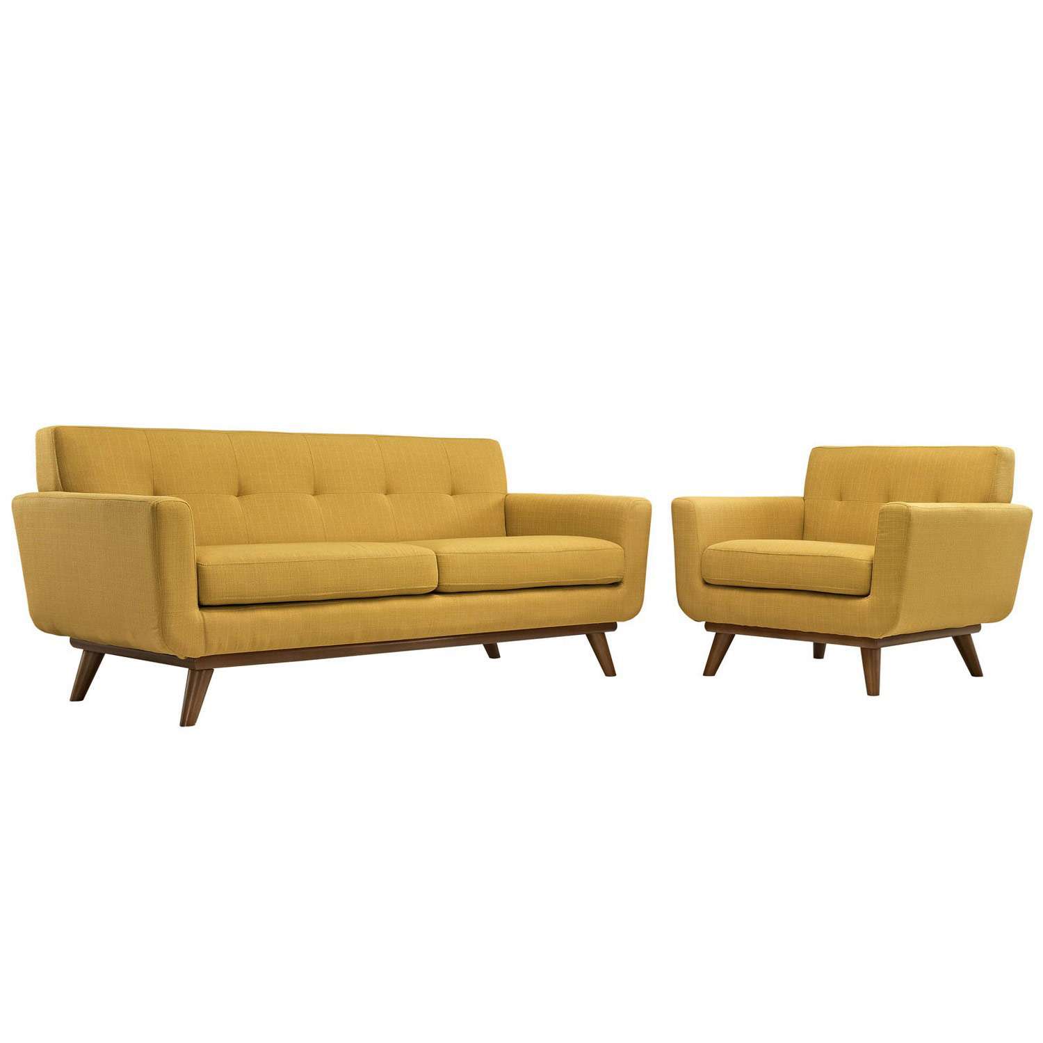 Modway Engage Armchair and Loveseat Set of 2 - Citrus