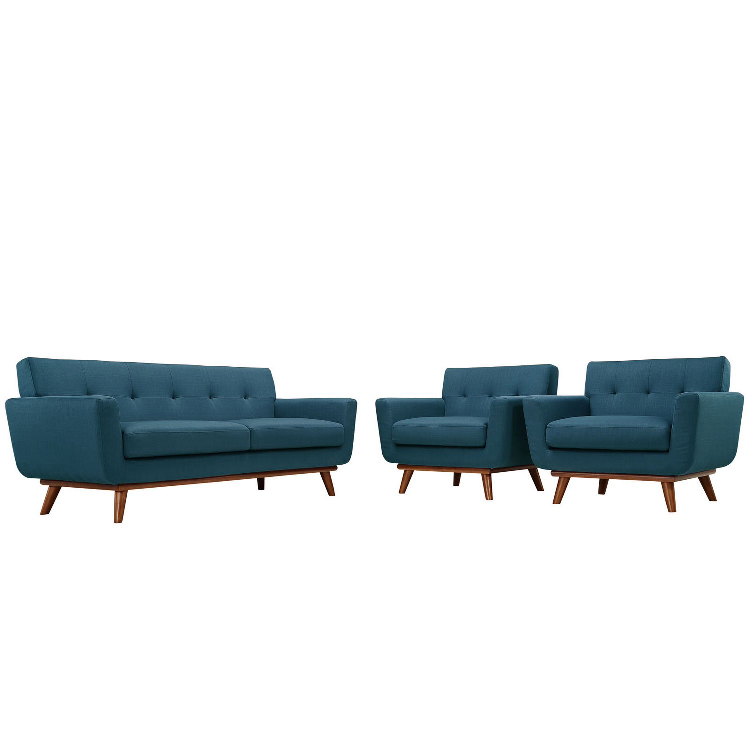 Modway Engage Armchairs and Loveseat Set of 3 - Azure