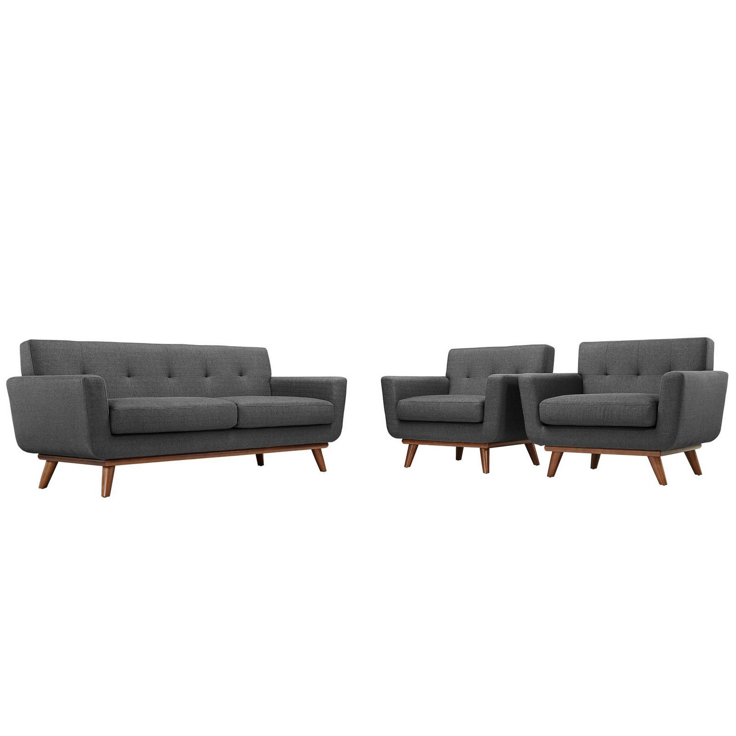 Modway Engage Armchairs and Loveseat Set of 3 - Gray