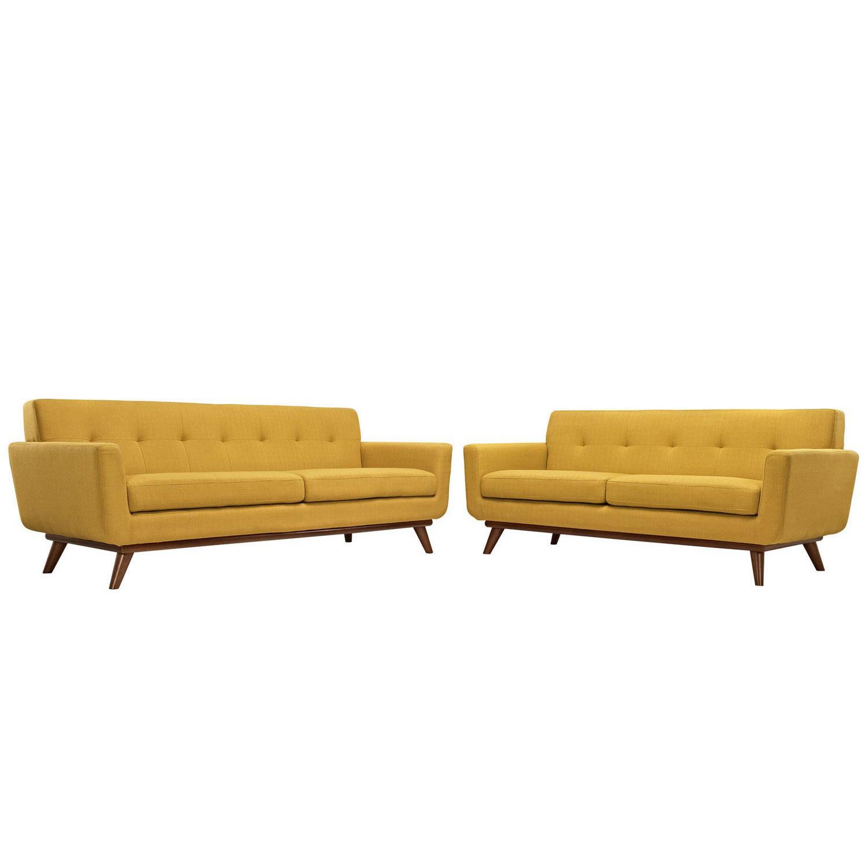 Modway Engage Loveseat and Sofa Set of 2 - Citrus