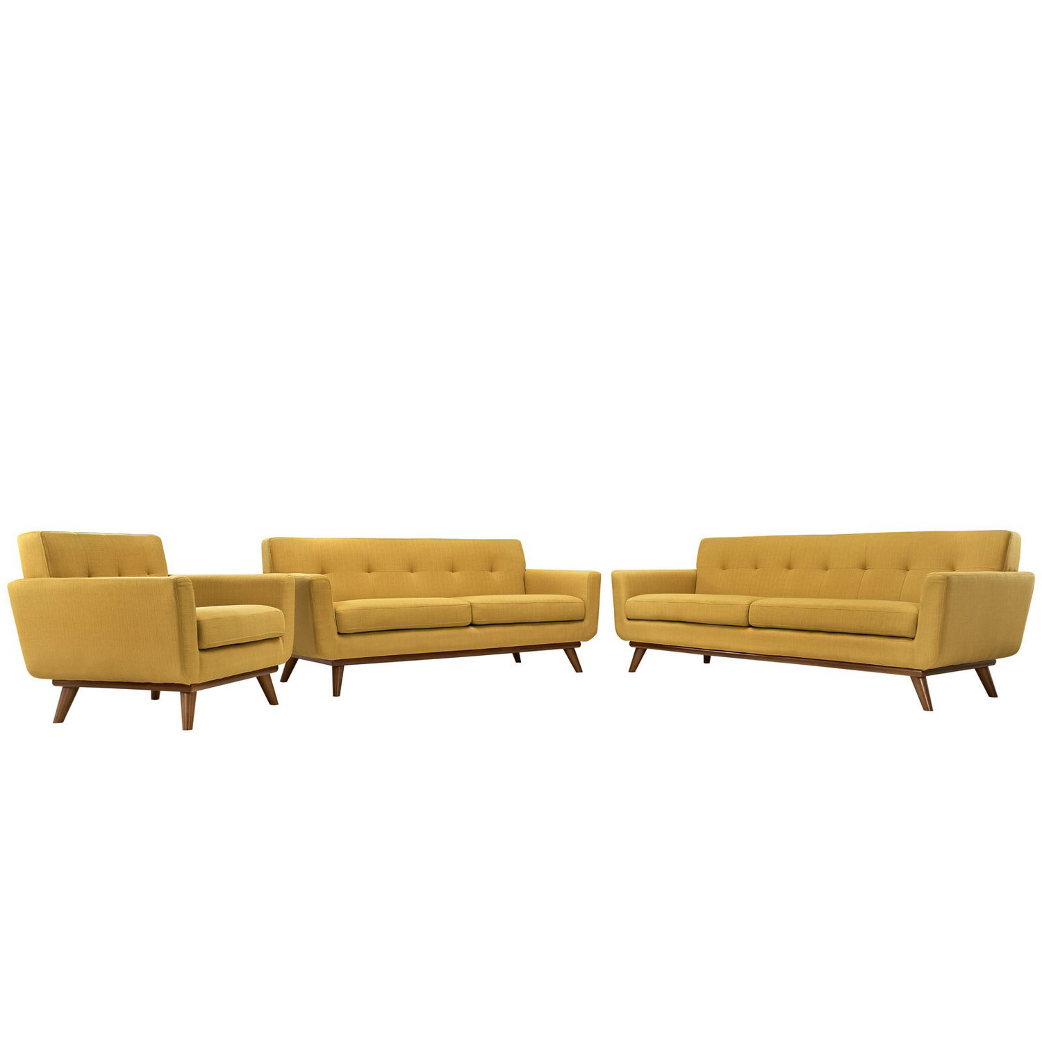 Modway Engage 3 PC Sofa Loveseat and Armchair Set - Citrus