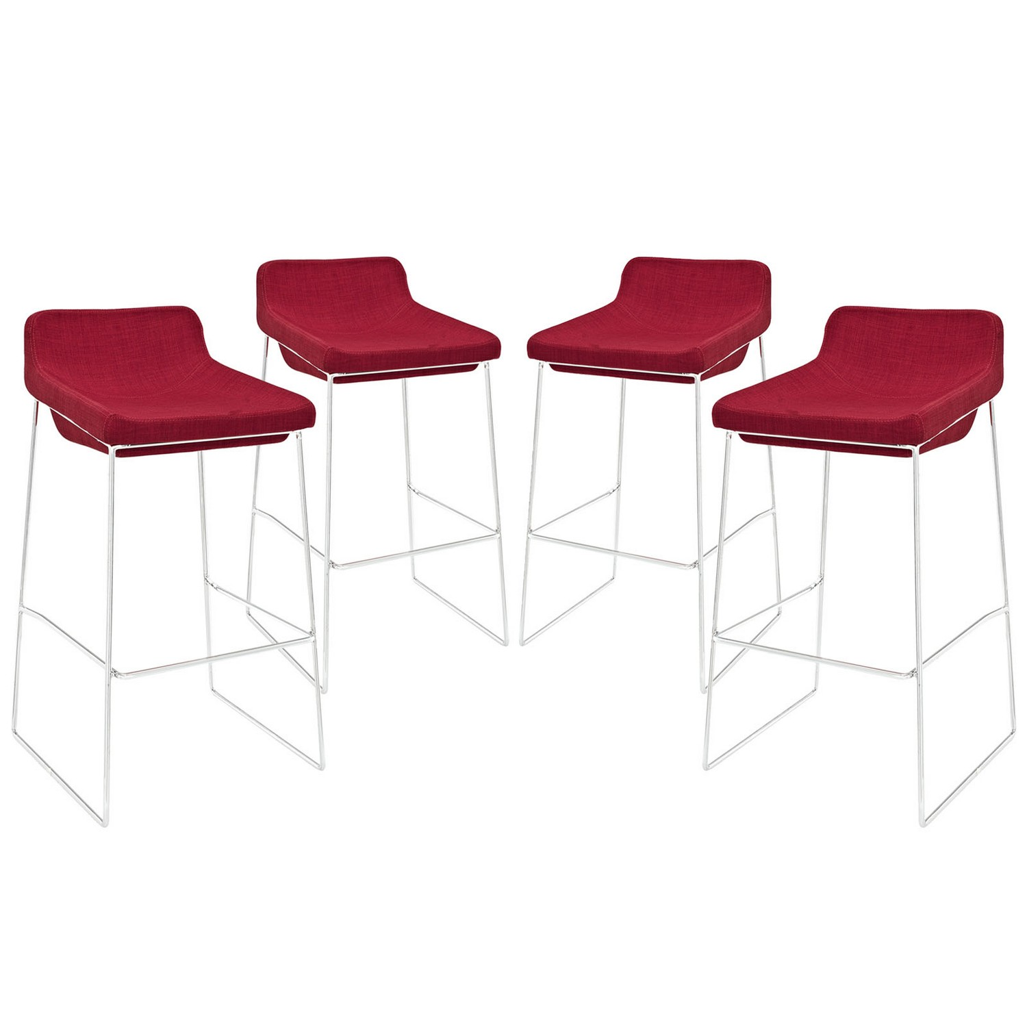 Modway Garner Bar Stool Set of 4 - Red