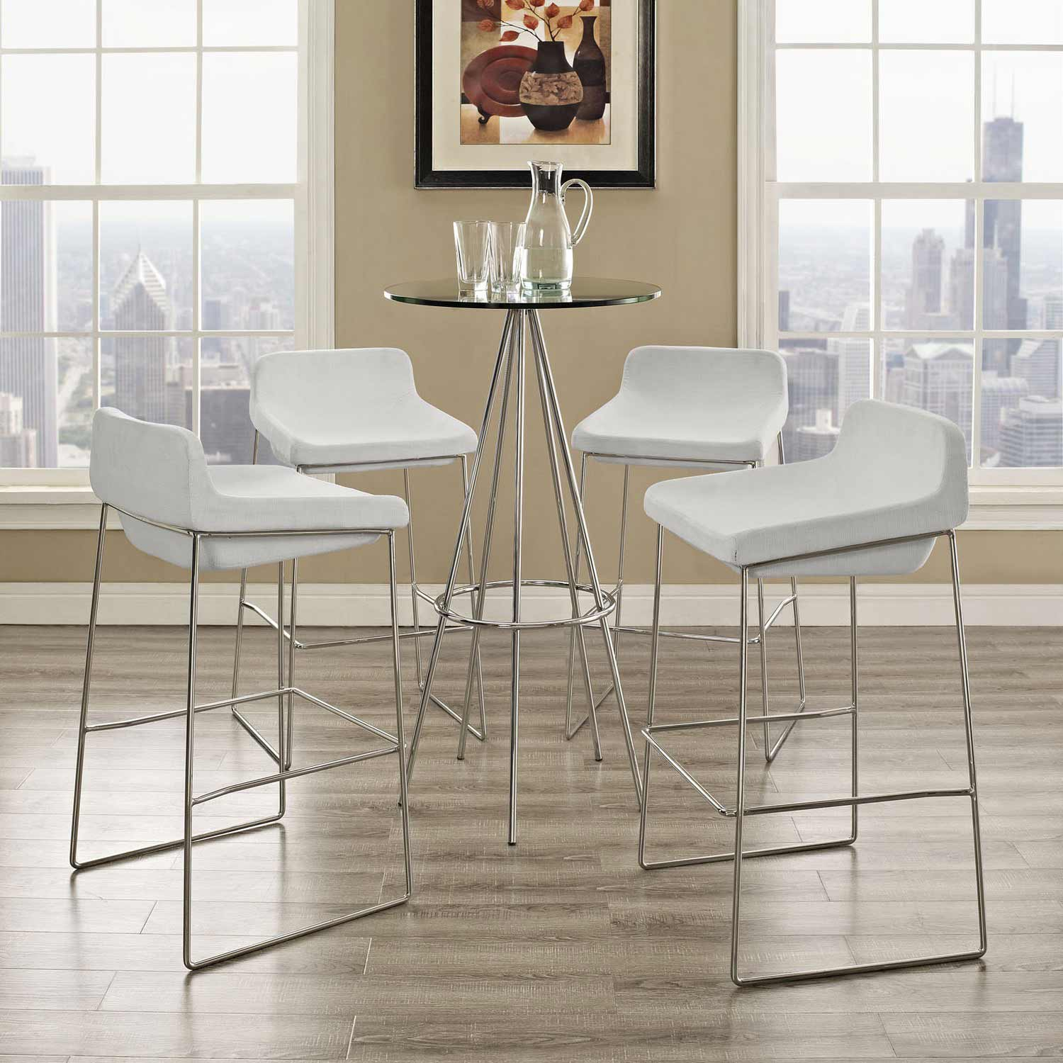 Modway Garner Bar Stool Set of 4 - White