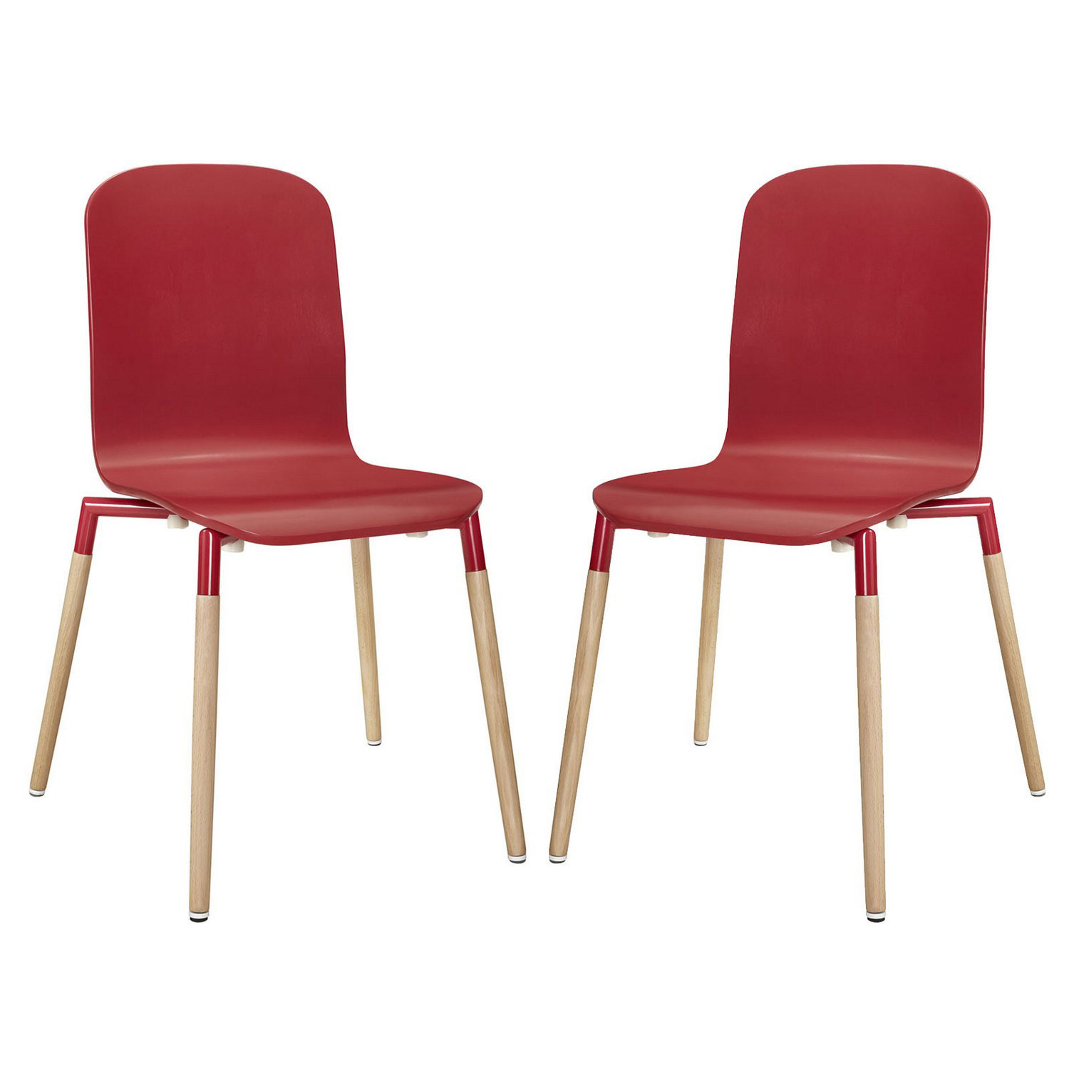 Modway Stack 2PC Dining Chairs Wood Set - Red