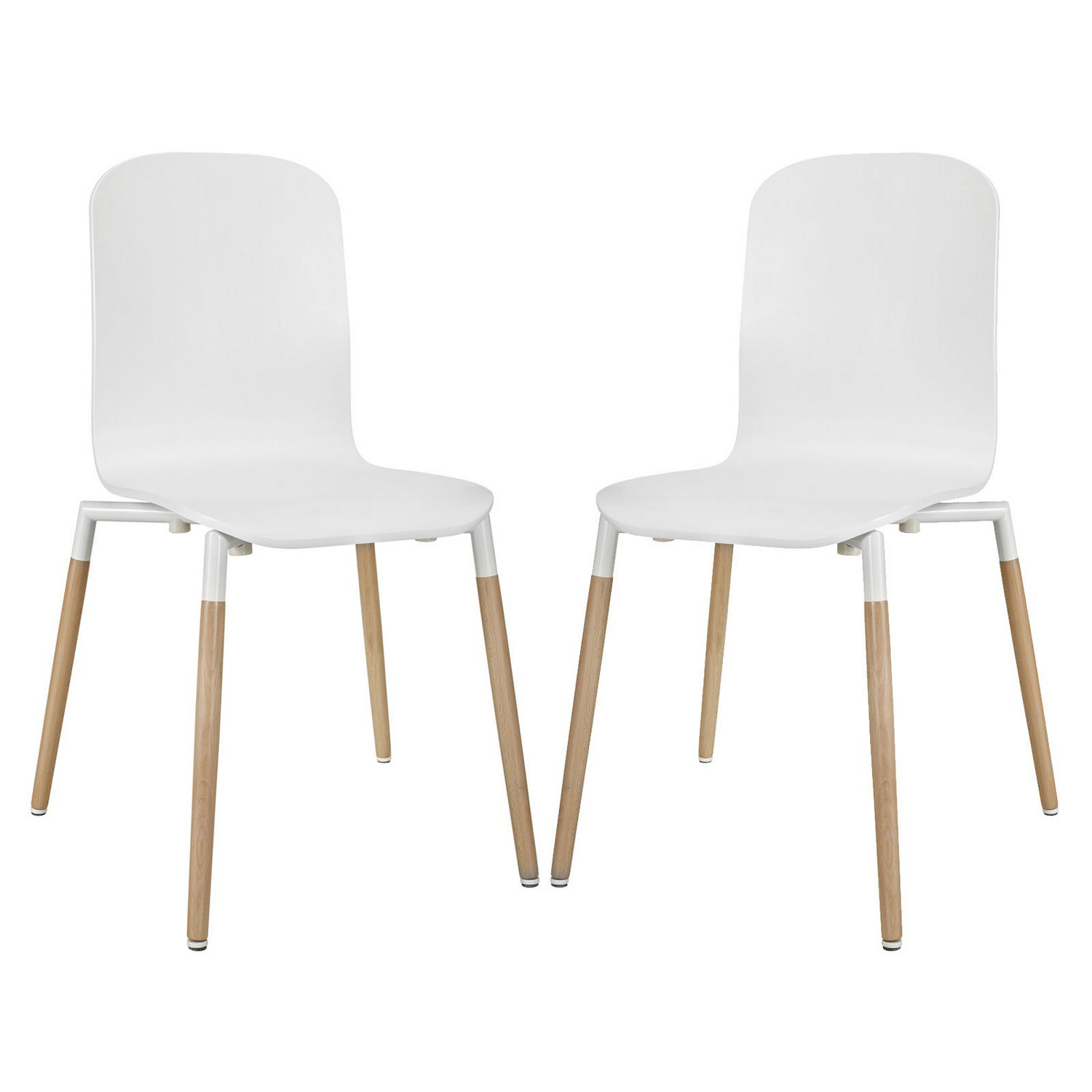 Modway Stack 2PC Dining Chairs Wood Set - White
