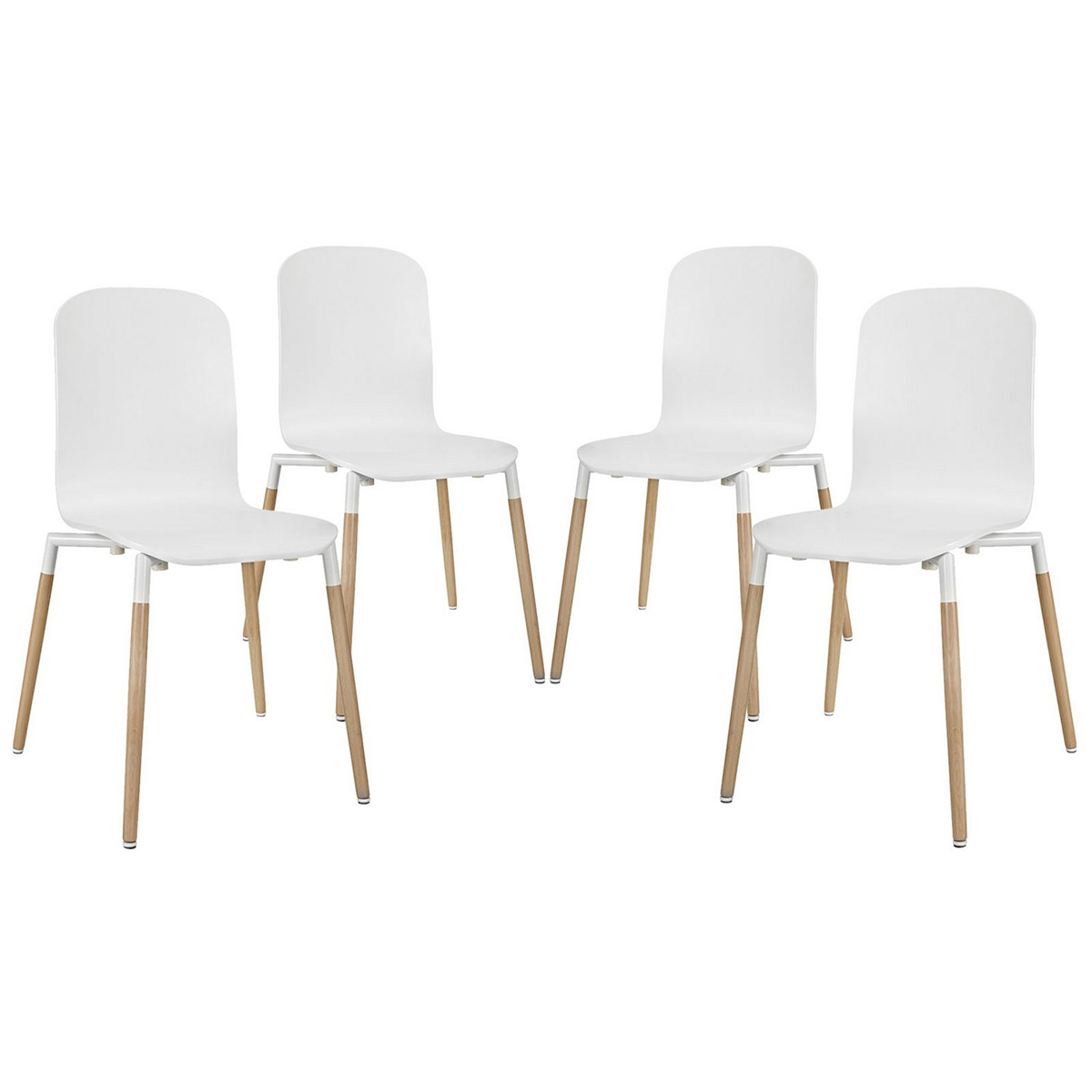 Modway Stack 4PC Dining Chairs Wood Set - White