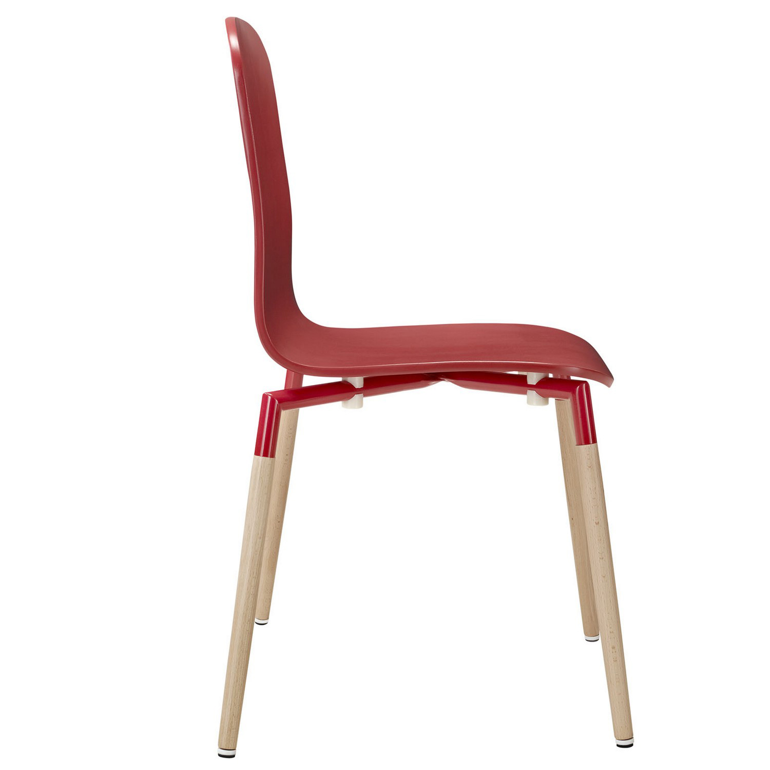 Modway Stack 5PC Dining Chairs and Table Wood Set - Red