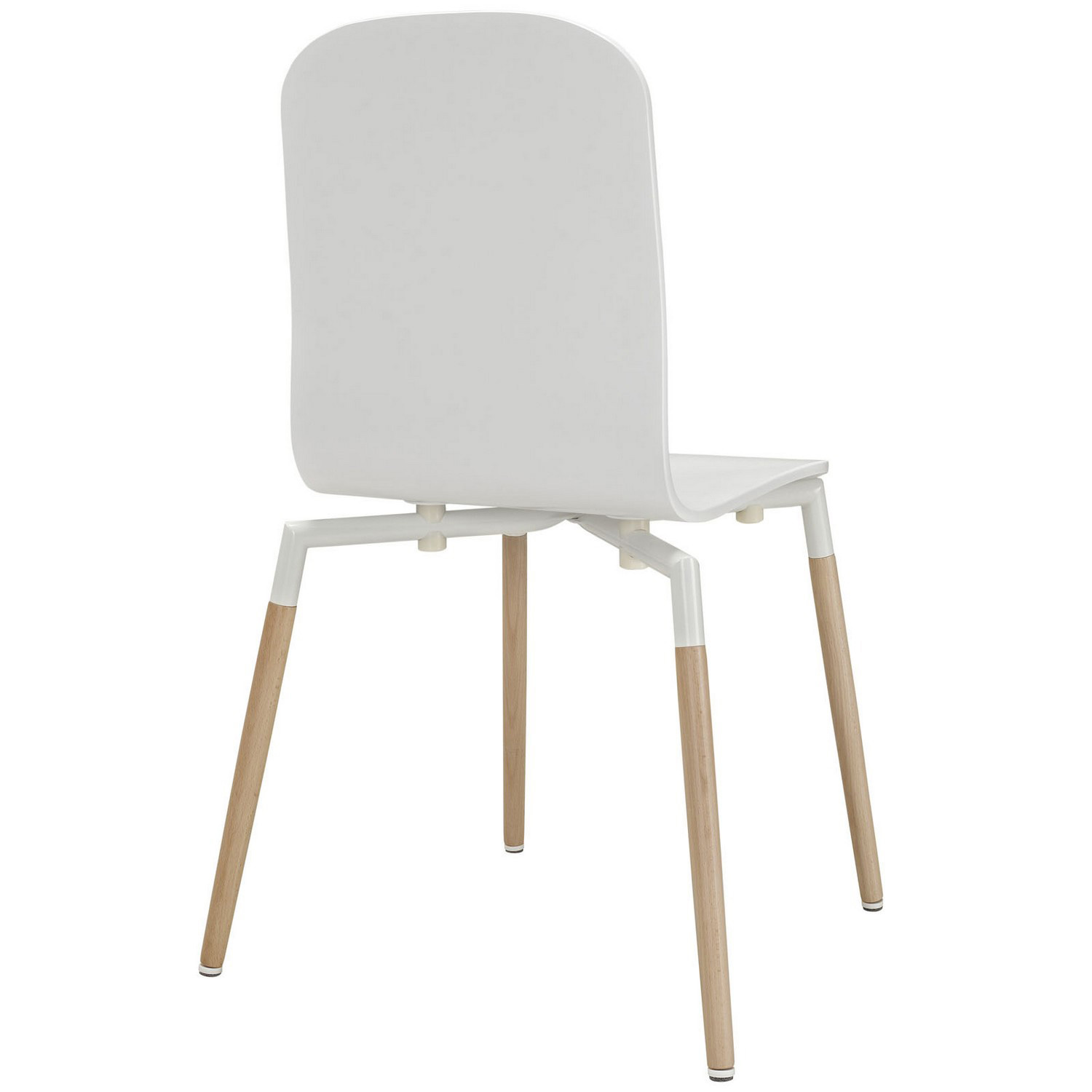 Modway Stack 5PC Dining Chairs and Table Wood Set - White