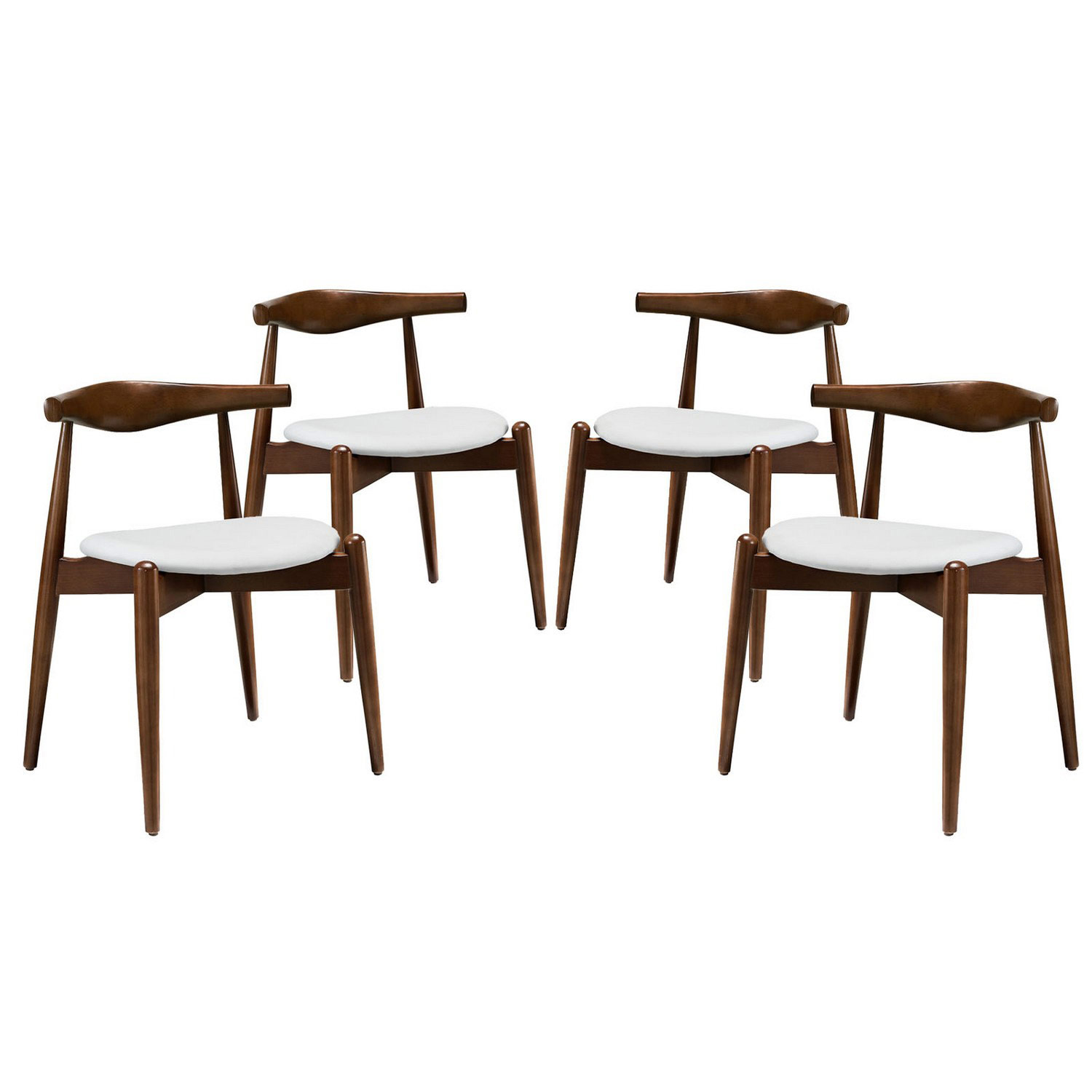 Modway Stalwart 4PC Dining Side Chair Set - Dark Walnut/White