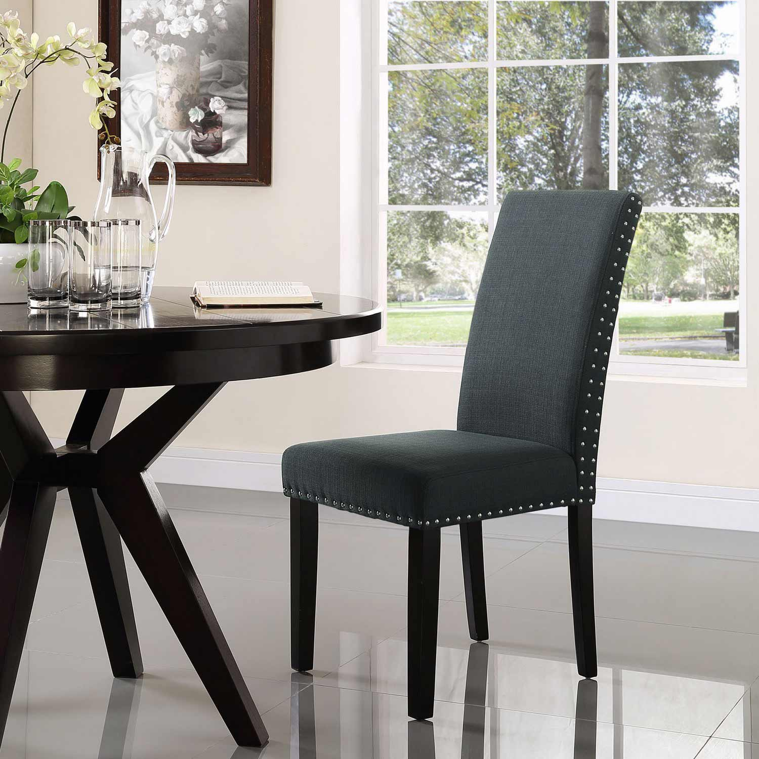 Modway Parcel Dining Fabric Side Chair - Gray