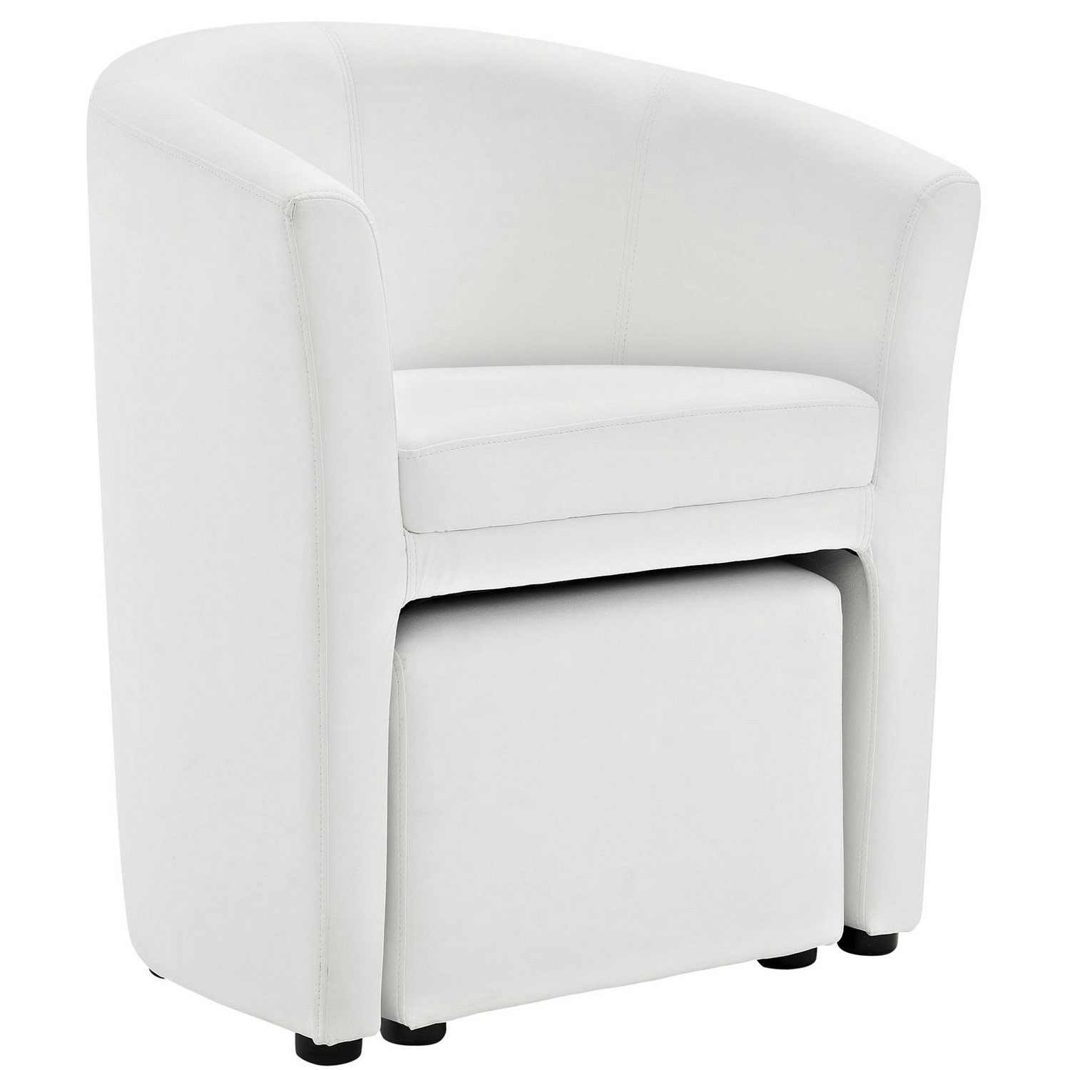 Modway Divulge Armchair and Ottoman - White