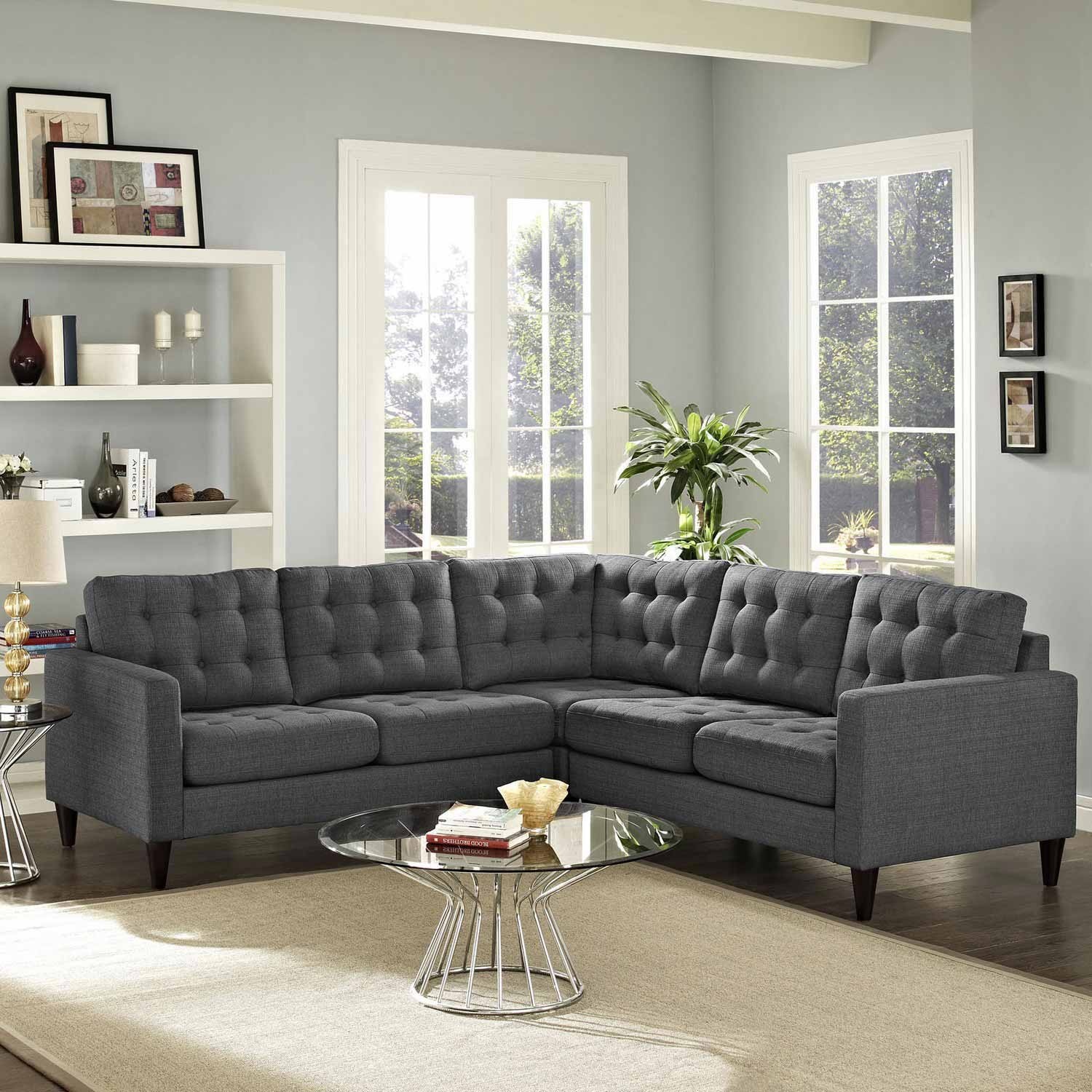 Modway Empress 3 Piece Fabric Sectional Sofa Set - Gray