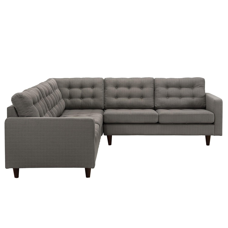 Modway empress 3 piece fabric sectional sofa set granite for Empress 3 piece fabric sectional sofa set