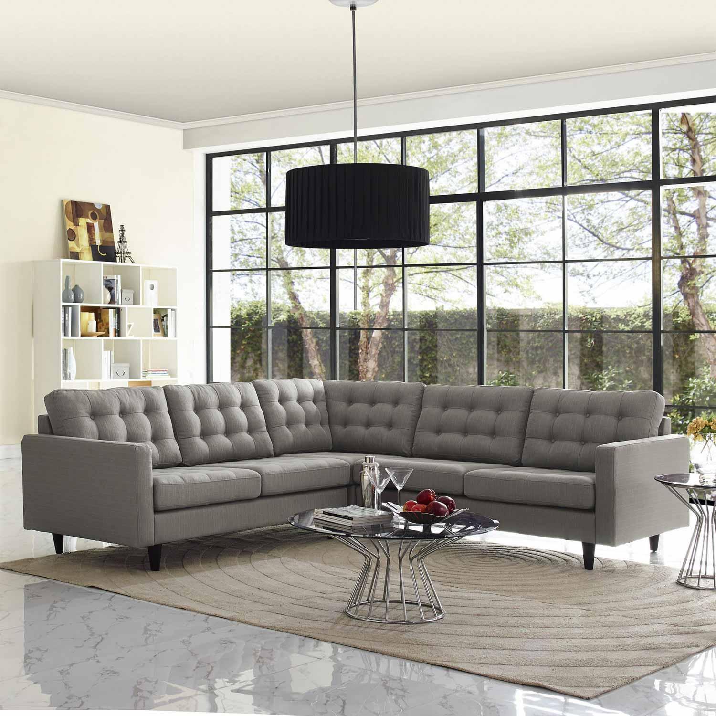 Modway Empress 3 Piece Fabric Sectional Sofa Set - Granite