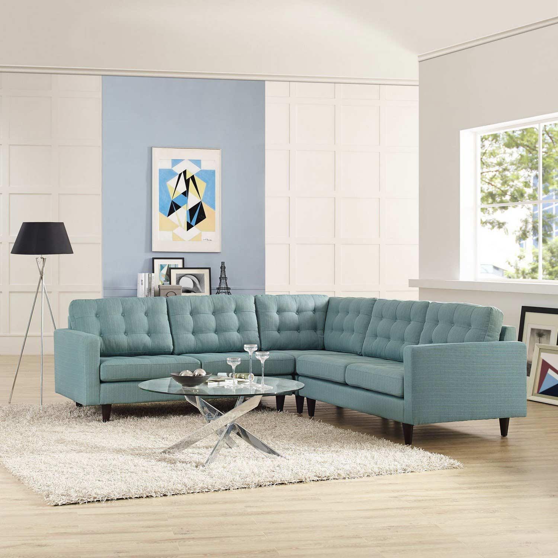 Modway Empress 3 Piece Fabric Sectional Sofa Set Laguna
