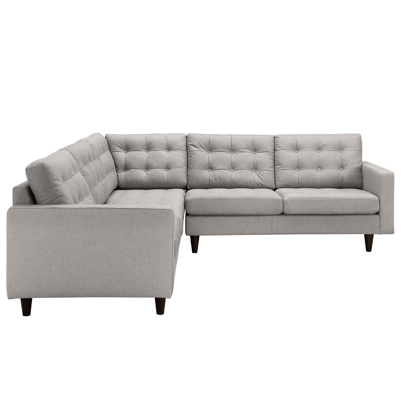 Sectional Gray Sofa Set: Modway Empress 3 Piece Fabric Sectional Sofa Set