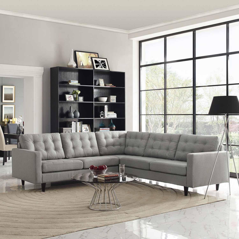 Modway Empress 3 Piece Fabric Sectional Sofa Set Light Gray MW
