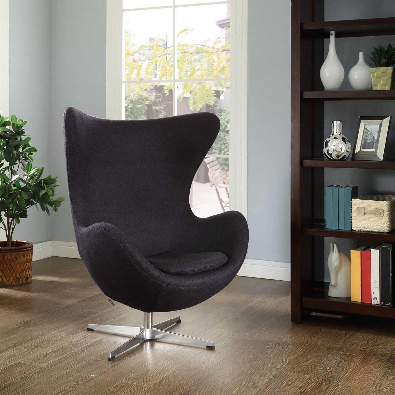 Modway Glove Wool Lounge Chair - Dark Gray