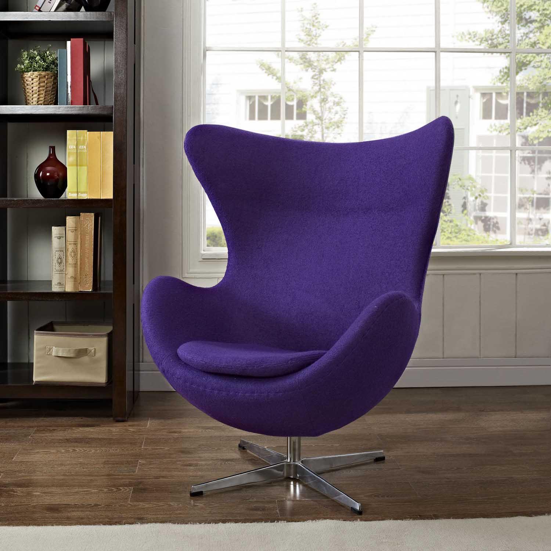 Modway Glove Wool Lounge Chair - Purple